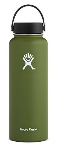 Coffee Take Along Set - Hydro Flask 40 oz Double Wall Vacuum Insulated Stainless Steel Leak Proof Sports Water Bottle, Wide Mouth with BPA Free Flex Cap, Olive
