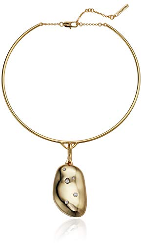 H Halston Women's Gold and Crystal Round Wire Pendant Necklace, One Size from H Halston