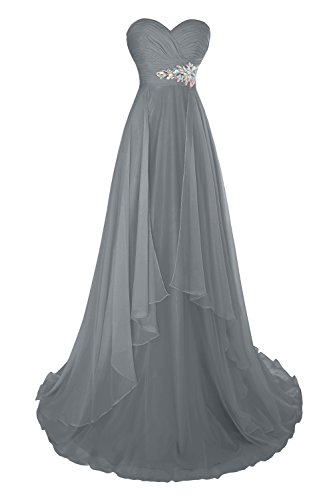 Dora Mousseline De Soie Plissée Femmes Mariée Longue Robe De Soirée Formelle Avec Des Volants En Acier Gris