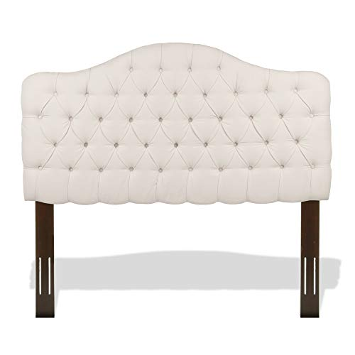 Leggett & Platt Martinique Button-Tuft Upholstered Headboard with Adjustable Height, Ivory Finish, Twin