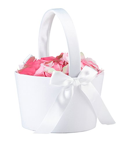 Lillian Rose FB100 W Elegant Simple Large Flower Girl Basket, White (Make Flower Girl Basket)