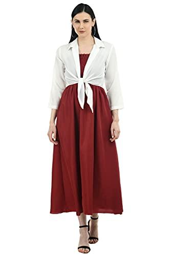 Milkyway Fashionable Maxi Dress with Shrug for Women (Maroon_Medium)