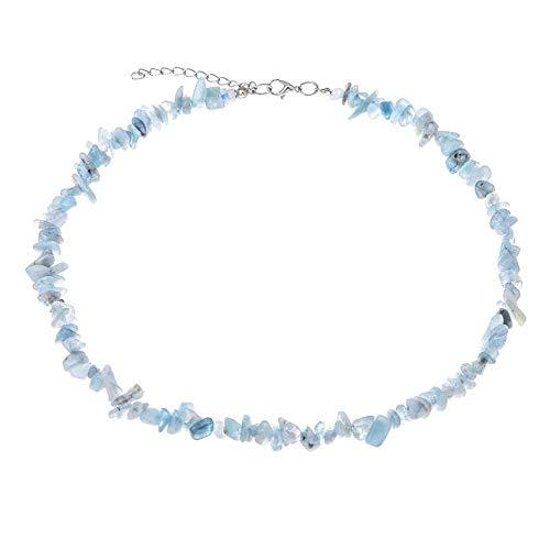 (TURTLEDOVE Raw Gemstone Necklace Natural - Elegant Choker Necklace for Women - Raw Malachite Necklace (Aquamarine Necklace))