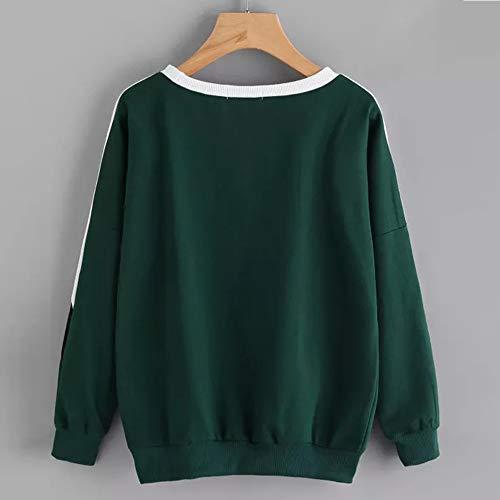 Manica Felpe Tumblr Donna Patchwork Felpa Pullover A Elegante Maglietta Tops con Cappuccio Casual Camicetta Magliette Verde Lunga Felpa Tops Donne VICGREY Zg8w1q