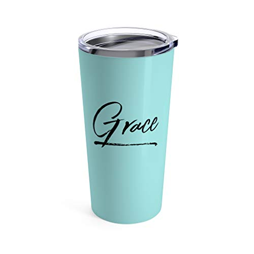 Coffee Thermal Travel Mug Insulated Thermos Teal Tumbler - Grace - Church Women Gift