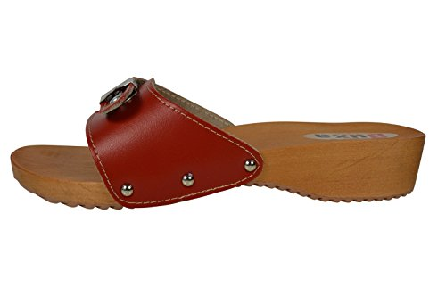 Rosso Pelle Buxa Donne Legno Le Fibbia in Zoccoli per Regolazione Sandali con di 7rqx0S7