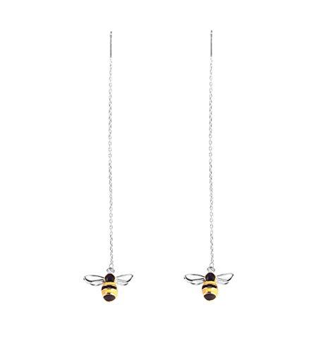 SLUYNZ 925 Sterling Silver Bumble Bee Dangle Earrings for Women Teen Girls Threader Earrings Chain (Silver)