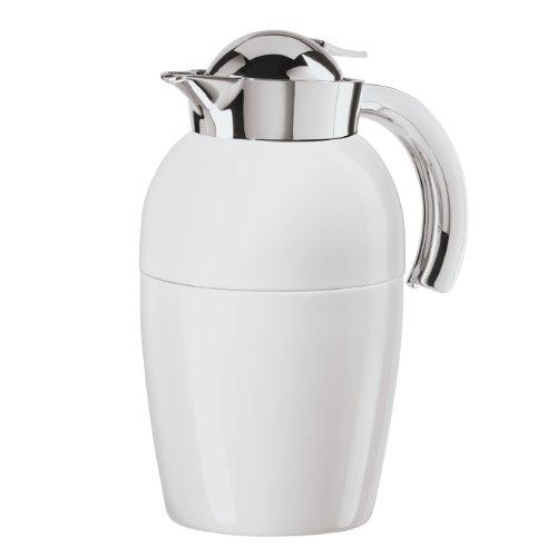 Oggi Senator Carafe with Press Button Top and Glass Liner, 1-Liter, White