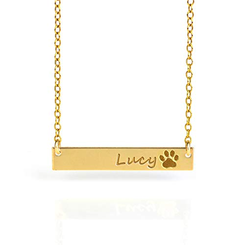 Personalized Pet's Name Bar Necklace with Paw Print, Dog necklace personalized, In Loving Memory of Dog or Cat or Animal Lover [530N]