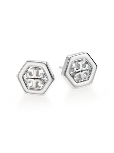 Tory Burch Hex-Logo Stud Earrings Silver With Dust - Burch Silver Tory