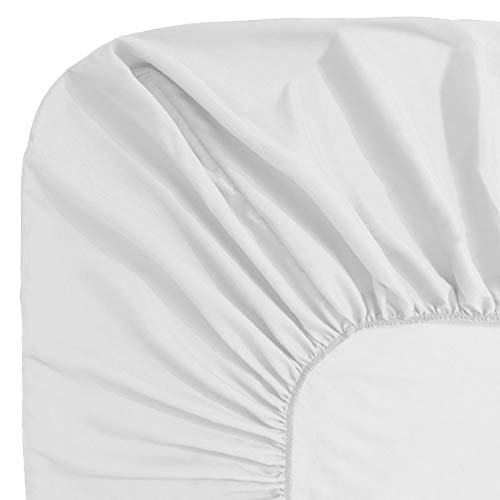 Guken Bedding Fitted Sheet Hypoallergenic Fitted Bed Sheet Breathable Microfiber Fabric Deep Pocket Elastic All Around(Queen, White)