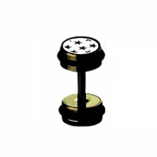Black Steel - Fake Plug - Schwarze Sterne (Fake Flesh Tunnel Cheater Plug Piercingschmuck Ohrringe für Damen und Herren schwarz)