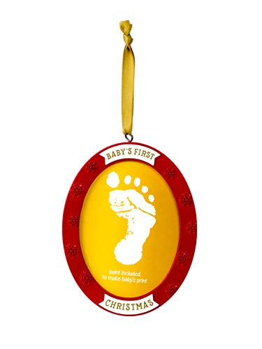 (Lil Peach Babyprints Handprint or Footprint Double-Sided Holiday Photo Ornament Kit with Included Paint, Red/Gold)