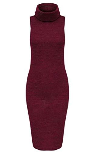Solido Senza Vestito Di Vino Maniche Dolcevita Maglia Matita Colore donne Rosso Howme 4aIqA4