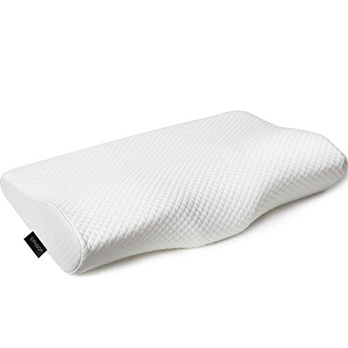 EPABO Contour Memory Foam Pillow Orthopedic Sleeping Pillows, Ergonomic Cervical Pillow for Neck Pain - for Side Sleepers, Back and Stomach Sleepers, Free Pillowcase Included (Firm & Queen Size) (Best Back Support Pillow For Bed)