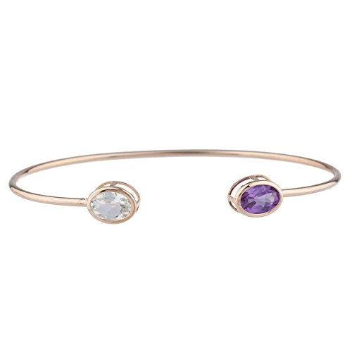 Elizabeth Jewelry Simulated Aquamarine & CZ Amethyst Oval Bezel Bangle Bracelet 14Kt Rose Gold Plated Over .925 Sterling Silver ()
