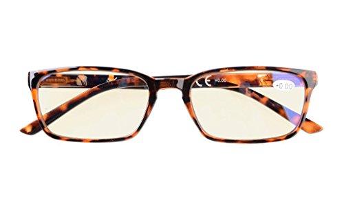 Blue Light Blocking Glasses,UV Protection Eyeglasses,Reduce Eyestrain Readers,Anti Fatigue,Computer Reading Glasses Women Men(DEMI) +2.0