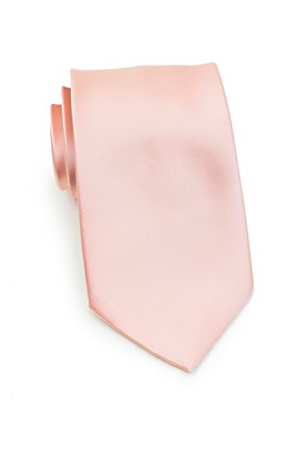 Solid Stylish Satin (Bows-N-Ties Men's Necktie Solid Color Microfiber Satin Tie 3.25 Inches (Peach Blush))
