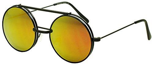 Limited Edition Red Round Chic Boho Hippie Hipster Black Flip Up Sunglasses / Non Prescription Clear Lens - Eyewear Prescription Ltd