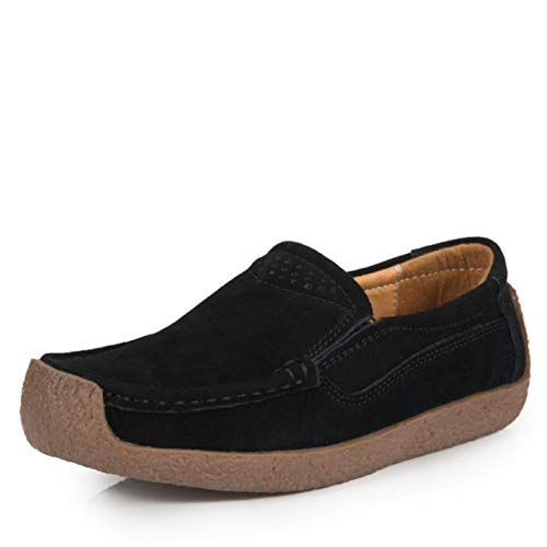 discount Women Suede Leather Casual Loafers Slip On Ballet Flats Boat Shoes