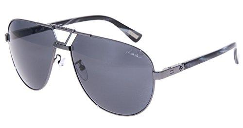 LANVIN LN043S Gunmetal Black Horn Aviator Mirrored Sunglasses 043 - Mens Sunglasses Lanvin