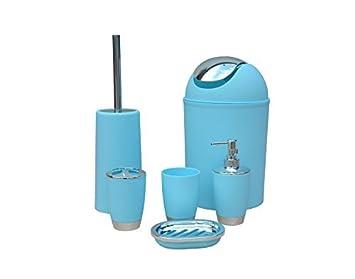 Stella 6 Piezas Accesorio de Baño Juego Papelera JABONERO Dispensador Vaso portacepillo de Dientes - Azul Claro: Amazon.es: Juguetes y juegos