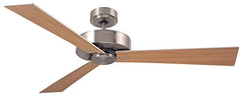 (Emerson Lighting CF320WBS Keane Brushed Steel Ceiling Fan, Satin White/Maple)