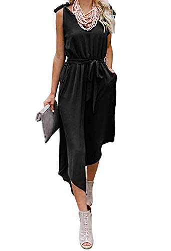OURS Women's Summer Deep V Neck Sleeveless Waist Belted Wide Leg Loose Jumpsuit Romper with Pockets (Black, M)