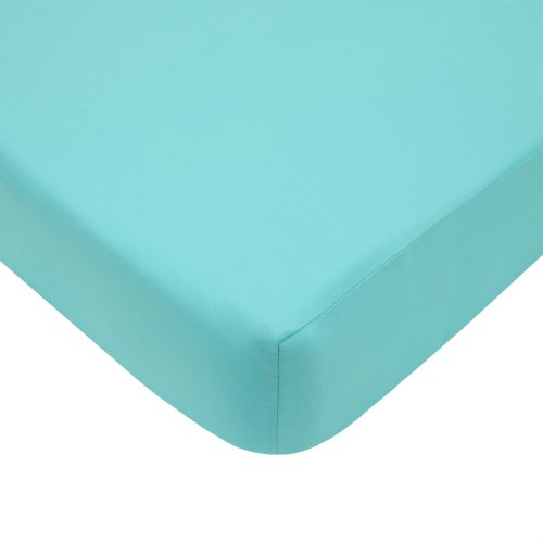American Baby Company 100% Cotton Percale Fitted Crib Sheet for Standard Crib and Toddler Mattresses, Aqua (Aqua Crib Sheet)
