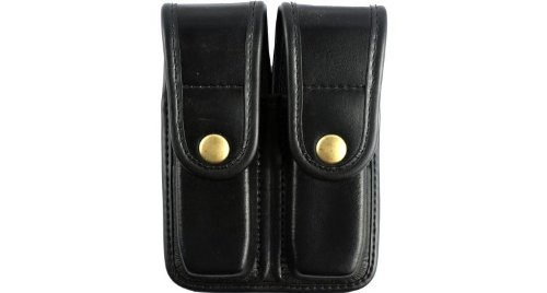 Bianchi 7902 PLN Black Double Mag Pouch with Brass Snap Closure (Size 4)