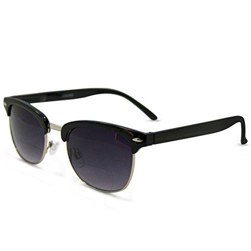 San Francisco Bifocal sunglasses Set with Hard Case (Black Bifocal Reading Lens, 1.75)