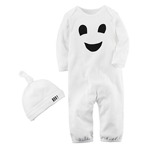 KONFA Toddler Newborn Baby Boys Girls Ghost Print Rompers with Hat,for 0-24 Months,Kids Jumpsuit Halloween Costumes Set (White, 12-18 -