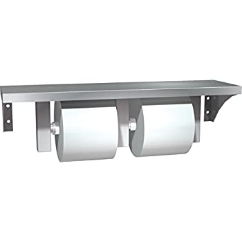 asi 0697gal stainless steel shelf and double toilet tissue holder