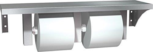 Toilet Tissue Dispenser Unit - ASI 0697-GAL Stainless Steel Shelf and Double Toilet Tissue Holder