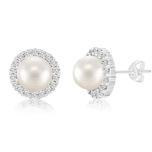 INSPIRED BY YOU. Round Simulated Pearl and Cubic Zirconia Stud Bridal Halo Earring for Women in Rhodium Plated 925 Sterling Silver (White) ()
