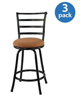 Amazoncom Mainstays 24 Inch Metal Swivel Counter Stools Set Of 3
