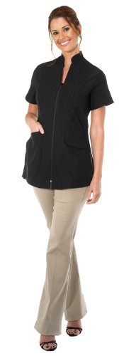 Canyon Rose Tuxedo Front Zip Salon Esthetician Jacket, Black, ()