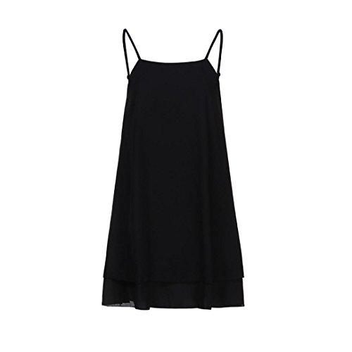 Robe Plage Femmes Loose Robe Strappy Mini Dcontract d't Court Bovake Solide Noir Femme 5An4xC6