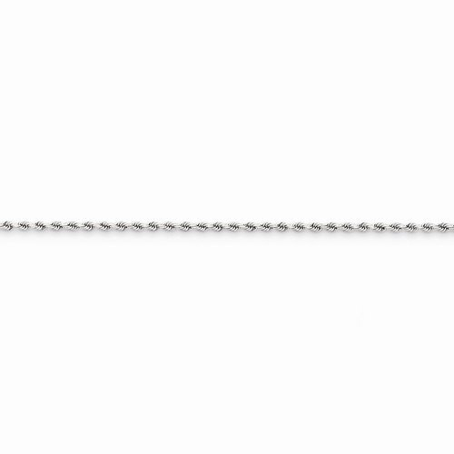 Solid 14k White Gold 1.8mm Diamond Cut Rope Anklet Bracelet - with Secure Lobster Lock Clasp