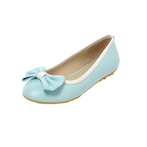 Allhqfashion Womens Solid Pu Lage Hakken Pull-on Closed-teen Pumps-schoenen Blauw