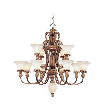 (Livex Lighting 8428-57 Savannah - Twelve Light Chandelier, Venetian Patina Finish with Vintage Carved Scavo Glass)
