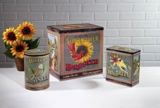 Set Of 3 Bird Seed Tin Canisters by Heart of America