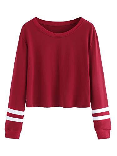 (SweatyRocks Women's Striped Long Sleeve Crewneck Crop Top Sweatshirt Burgundy XS)