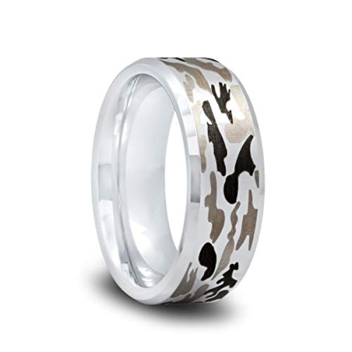 Tungsten Camo Wedding Band with Gray and Brown Camouflage Pattern and Polished Beveled Edges -