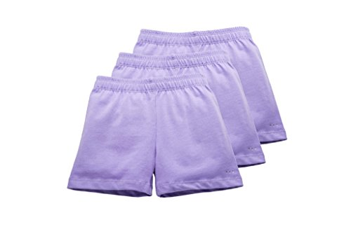 Sparkle Farms Big Girls Comfortable Cotton Playground Shorts, 3-Pack, All Lilac Purple, Size 3