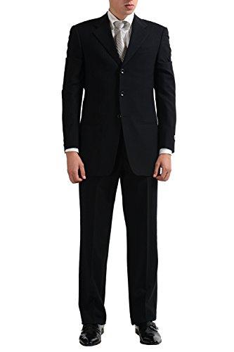 Armani Collezioni Men's Stretch Wool Striped Three Button Suit US 36R IT 46R