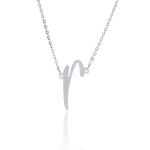 - AOLO Silver R Initial Necklace R Stainless Steel