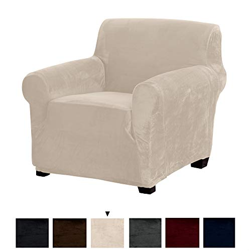 Great Bay Home Original Velvet Plush Stretch Arm Chair Slipcover. Strapless Chair Cover, Furniture Protector for Arm Chairs, Soft Anti-Slip, High Stretch (Chair, Silver Cloud) (Swivel Chair Plaid)