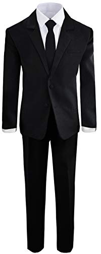 (Boys Black Tuxedo Suit with Tie Young Boys Youth Size)