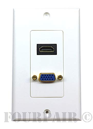 HDMI + VGA Video Combo Media Wall Face Plate RGB Outlet Jack HDTV NEW - White